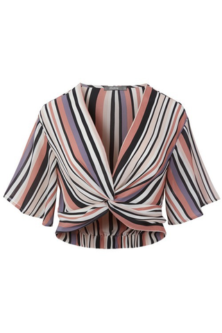striped twist front crop top