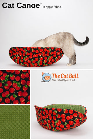 Novelty cat bed with a fruit theme; the Cat Canoe in apple fabric. Made in USA
