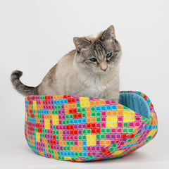 Cat Canoe modern pet bed in colorful Tetris fabric