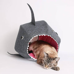 The shark Cat Ball cat bed is a popular novelty design made by The Cat Ball, LLC
