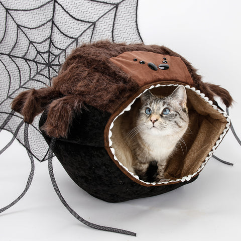 The spooky spider Cat Ball cat bed is a novelty pet bed for Halloween
