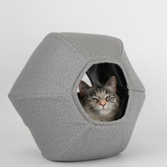 Cat Ball cat bed made in neutral grey sticks and stones geometric fabrics