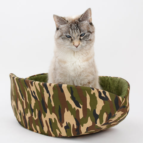 Cat Canoe modern cat bed made in camouflage fabric with olive green lining