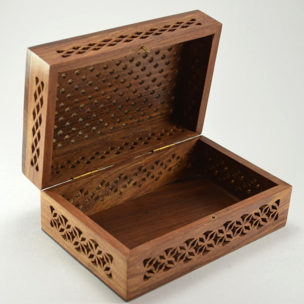 Rosewood Cutwork Box | Hand carved wooden box, gift ideas for men