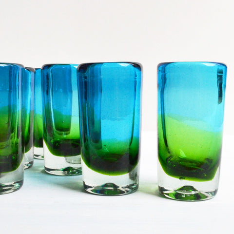 shot glasses, handcrafted, blue and green unique shot glass