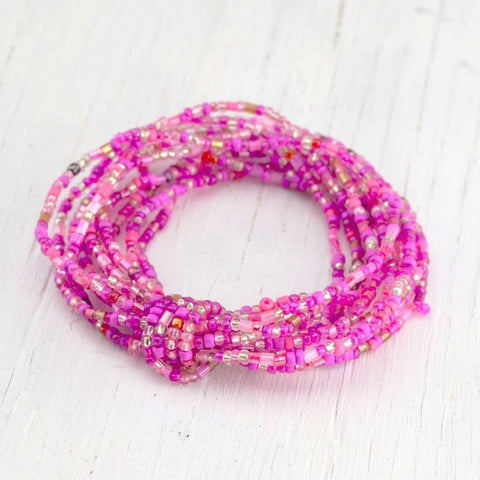 pink glass beaded multi-strand bracelet, fair trade from India