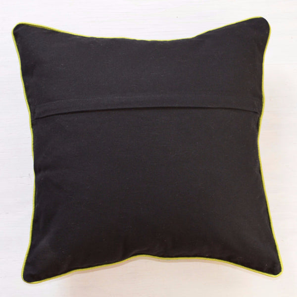 Decorative Pillows | Embroidered throw pillow with black and bright colors, reverse side