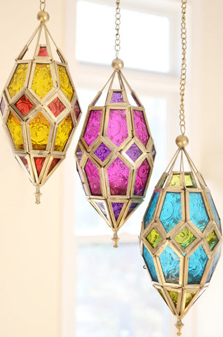 colorful patterned glass hanging lanterns, three color options
