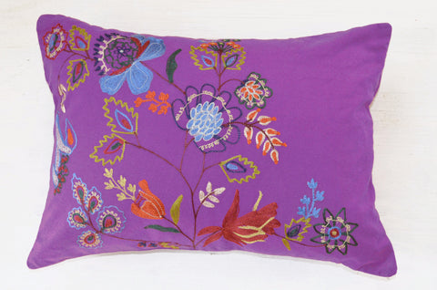 Decorative Pillows | Purple throw pillow with floral embroidery