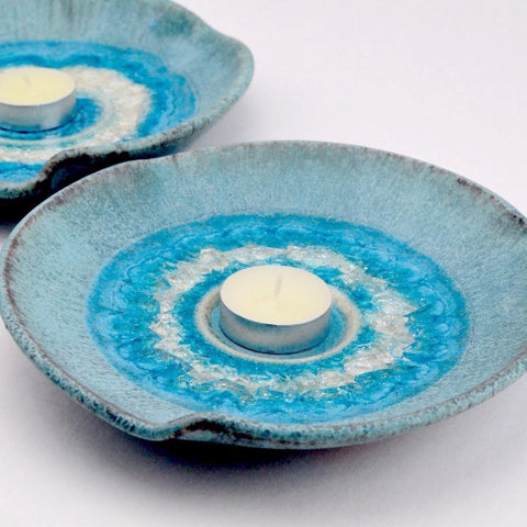 turquoise ceramic crackle glaze candle plate