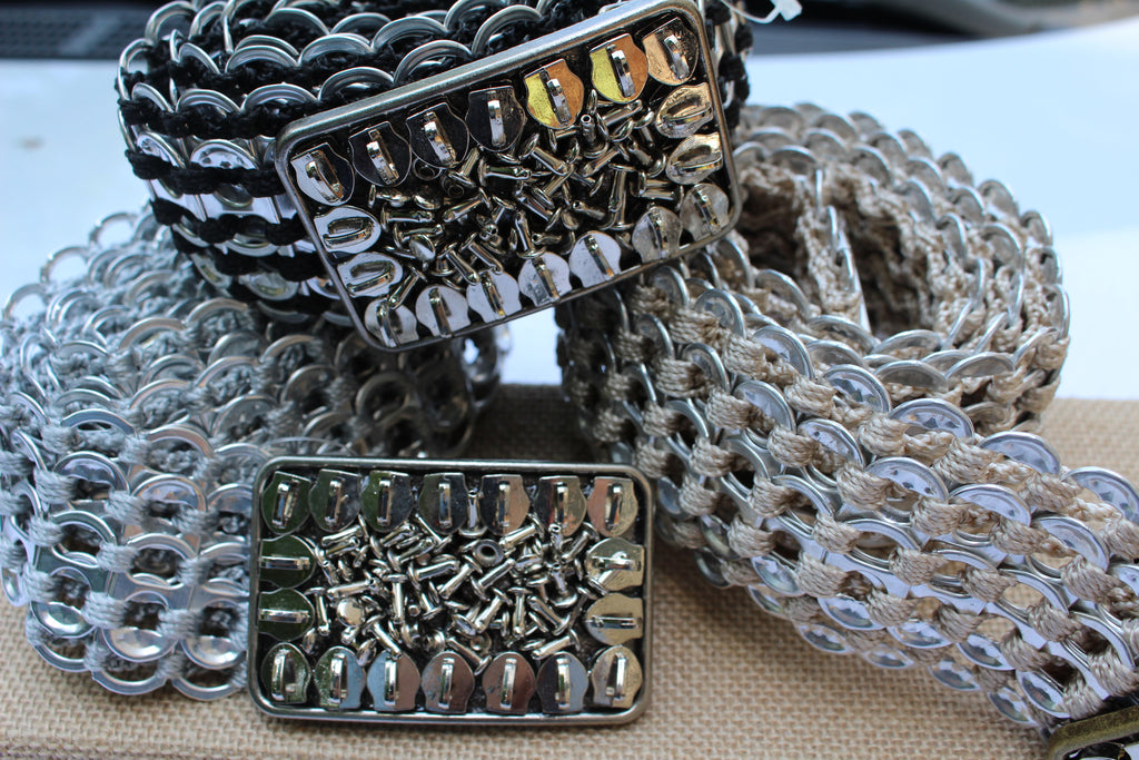 Recycled pull tab WIDE BELT