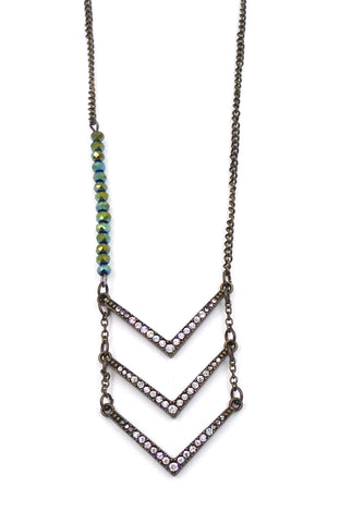 Chevron Brass and Crystal Necklace