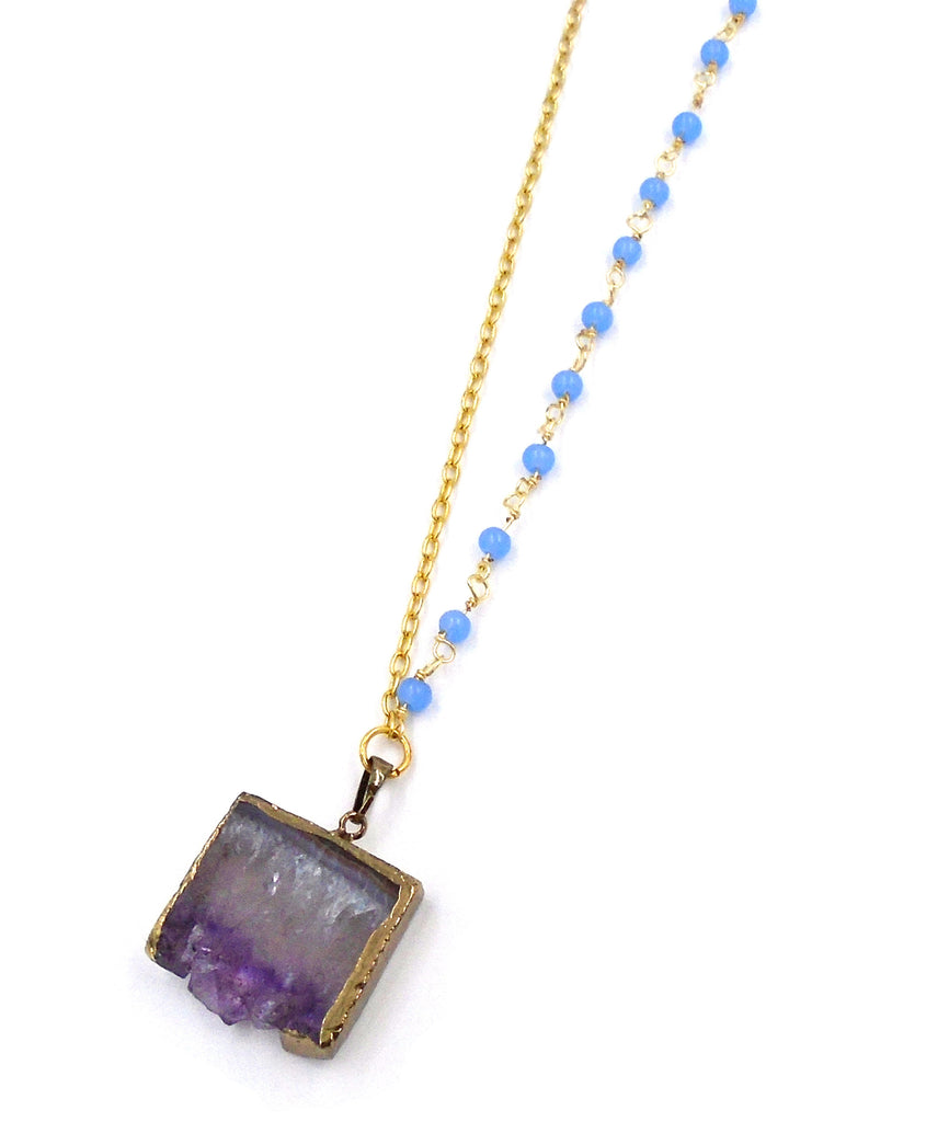 Gold-Dipped Amethyst Slice Necklace