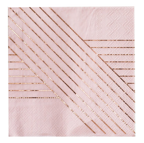 AMETHYST PINK AND ROSE GOLD PAPER NAPKINS