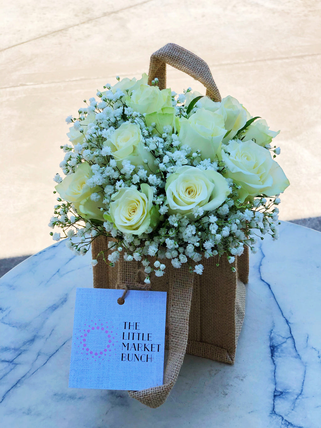 The little market bunch funeral Sympathy white Rose bag