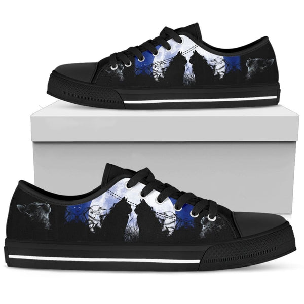 Cats In The Moon Womens Low Top Shoes - The Moonlight Shop