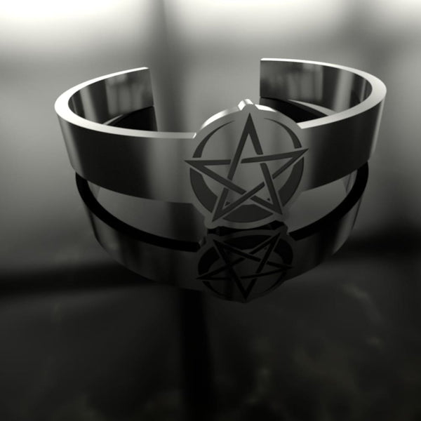 Pentacle Moon Engraved Ring - The Moonlight Shop