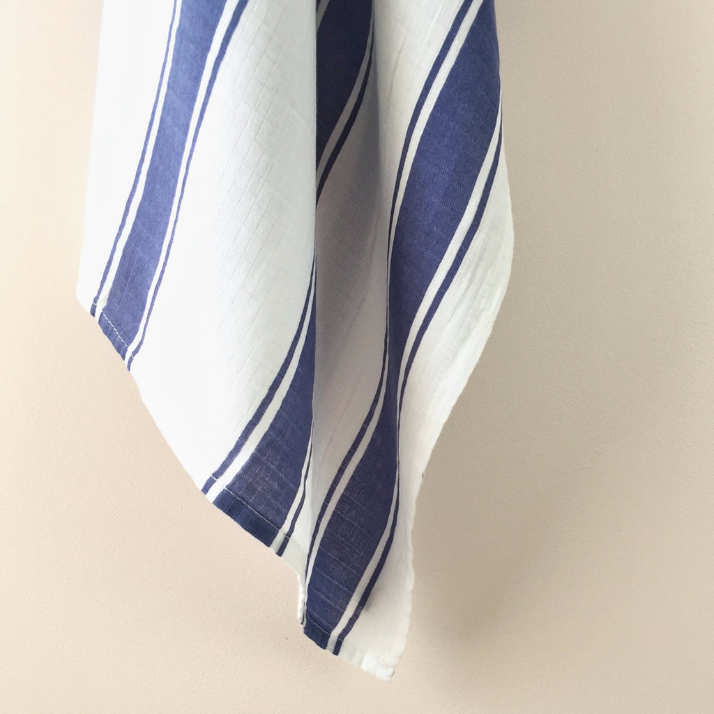 Blue Stripe Muslin Swaddle