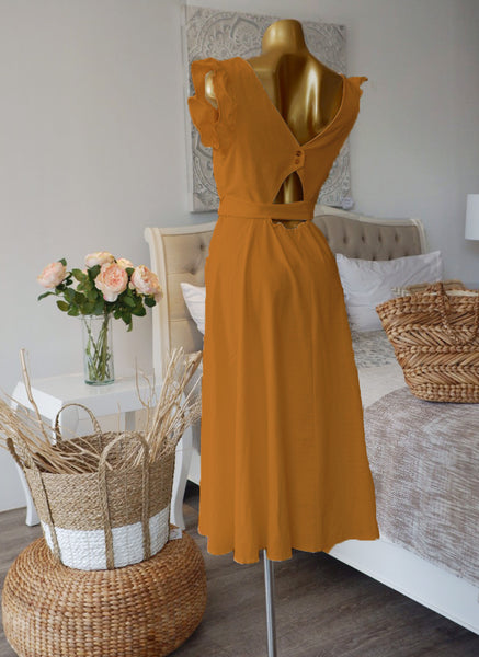 Soleil Linen Dress in Mustard