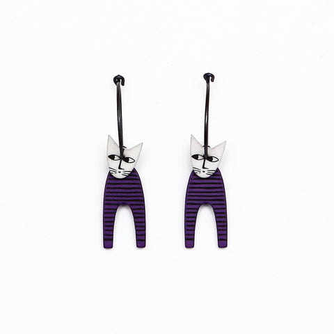 Lene Lundberg K-Form Stripey Purple/White Head Cat Earrings