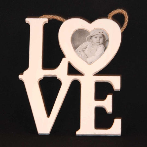 White Wooden Love Photo Frame