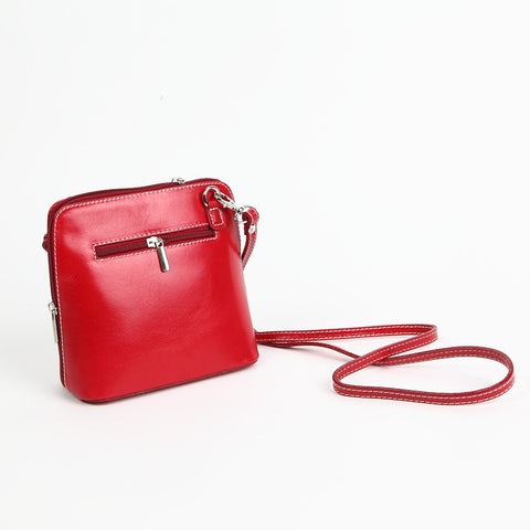 Genuine Leather Small Shoulder Bag in Bright Red