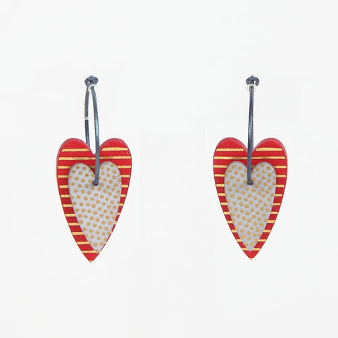 Lene Lundberg K-Form Double Heart Earrings