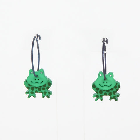 Lene Lundberg K-Form Green Frog Earrings
