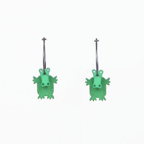 Lene Lundberg K-Form Green Crocodile Earrings