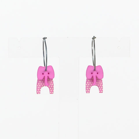 Lene Lundberg K-Form Pink Elephant Earrings
