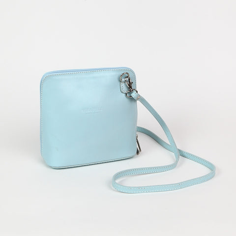 Genuine Leather Small Shoulder Bag in Pale Blue