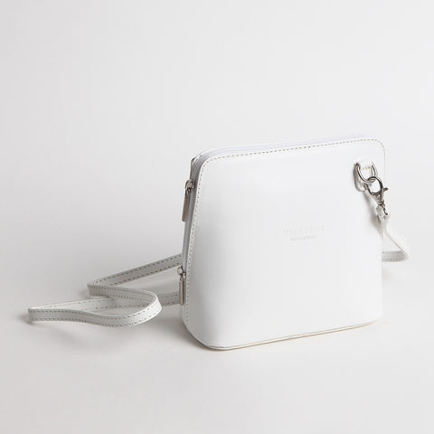 Genuine Leather Small Shoulder Bag in White