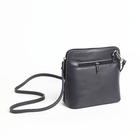 Genuine Leather Small Shoulder Bag in Dark Grey