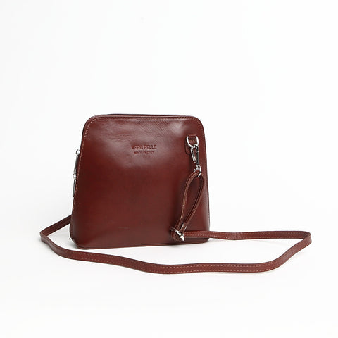 Genuine Leather Small Shoulder Bag Tan
