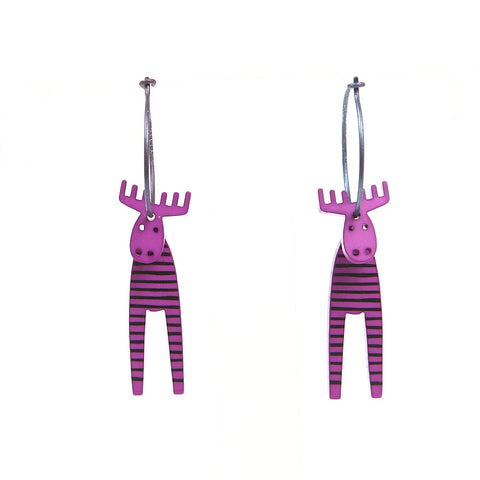 Lene Lundberg K-Form Purple Stripey Moose Earrings