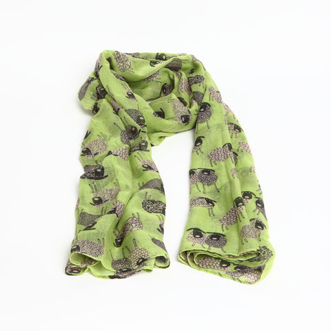 Bright Green Quirky Sheep Scarf