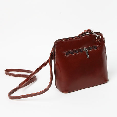 Genuine Leather Small Shoulder Bag in Dark Red