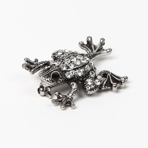 Sparkly Diamante Silver-Finish Frog Brooch