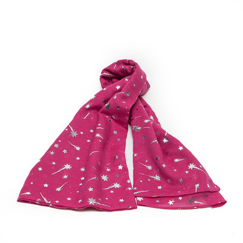 Fuchsia Scarf with Silver Shooting Stars