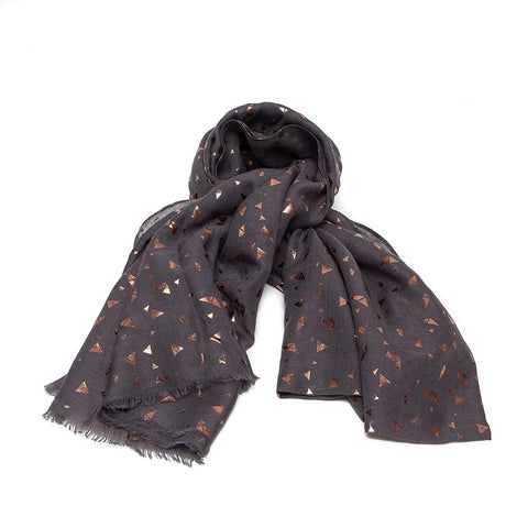 Dark Grey Scarf with Rose Gold Triangles