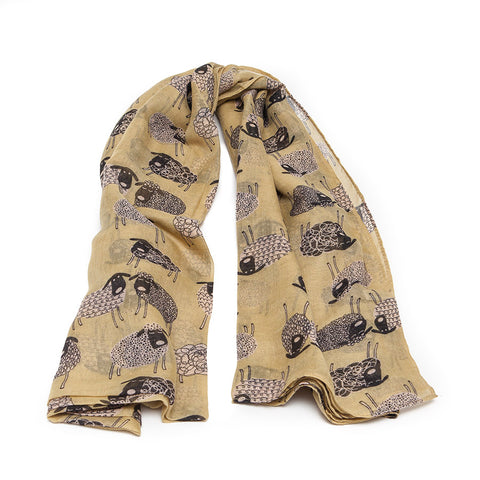 Banana Yellow Scarf with Quirky Sheep
