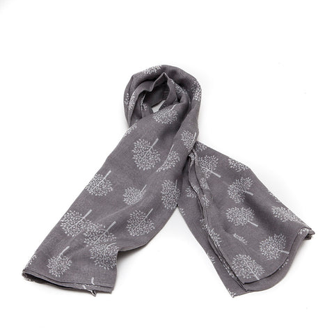 Grey Scarf with Delicate White Mulberry Trees