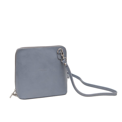Genuine Leather Small Shoulder Bag in Light Grey