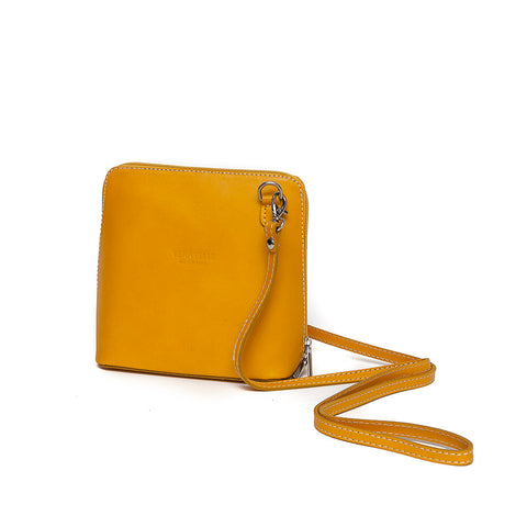 Genuine Leather Small Shoulder Bag in Bright Yellow