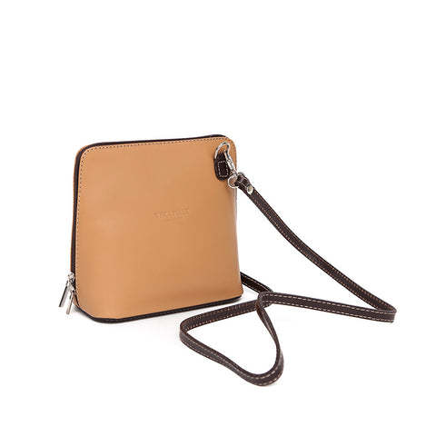 Genuine Leather Small Shoulder Bag in Caramel with Chocolate Trim