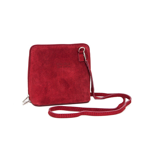 Genuine Suede Small Shoulder Bag in Rich Red