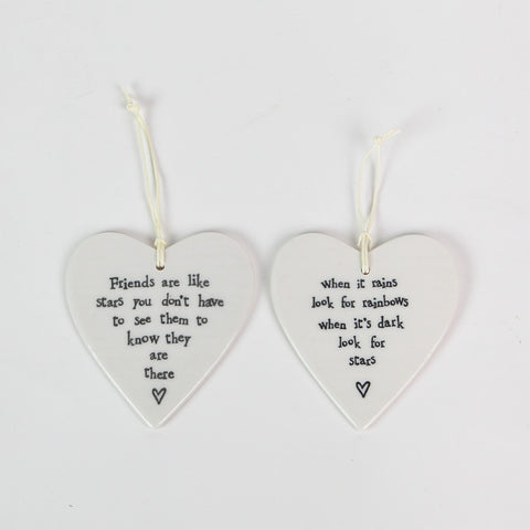 East of India Ceramic Hearts with Sentiments