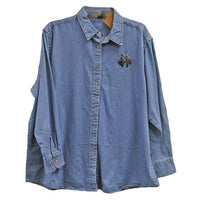 Kerry Blue Terrier Embroidered Ladies Denim Shirts
