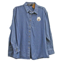 Samoyed Embroidered Ladies Denim Shirts