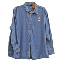 Shetland Sheepdog Embroidered Ladies Denim Shirts